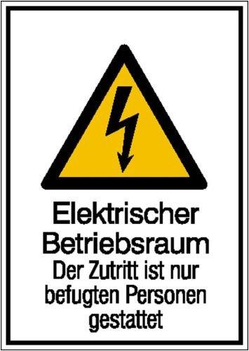 2101. Warn-Kombischild Elektrischer Betriebsraum Weich-PVC-Folie, selbstklebend, bedruckt Größe 13,10 cm x 18,50 cm