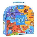 Hangarone Jouets carte du Puzzle monde,100 pièces de puzzle pour enfants de la carte du monde.