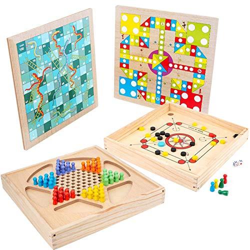 Juego de mesa 4 en 1 divertido juego de escritorio de madera, ajedrez volador + ajedrez serpiente + damas + hockey sobre hielo, deportes portátiles, juegos de mesa de madera, juguetes para niños y adu