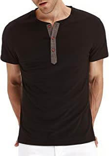 320b2c2b1 Photno Men Short Sleeve Henley T Shirts Casual Slim FIt Tops Summer Fashion  Tees