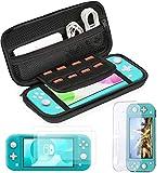 Bestico Kit de Accesorios para Nintendo Switch Lite, Protección Funda para Nintendo Switch Lite 2019, Transparente Carcasa, Vidrio Templado Protector de Pantalla para Nintendo Switch Lite (2 Piezas)