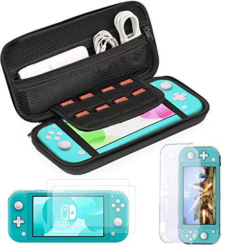 Bestico Accessoire pour Nintendo Switch Lite, Étui de Transport pour Nintendo Switch Lite, Transparente Coque, 2 PiècesProtecteur D'écran En Verre Trempé