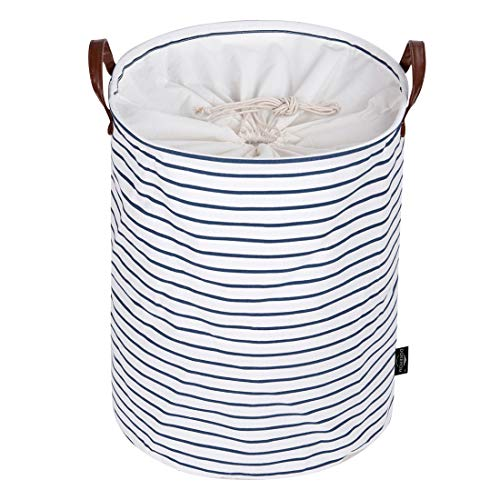 DOKEHOM 22-Inches Freestanding Laundry Basket with Lid Collapsible Extra Large Drawstring Clothes Hamper Storage with Handle Blue Stripe XL