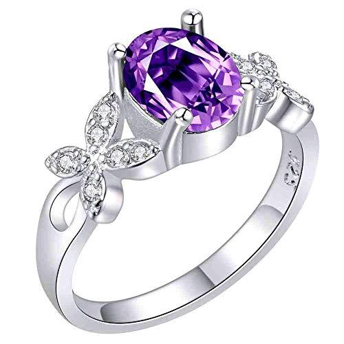 Purmy Damen Ring Versilbert Hochzeitsband mit Lila Cubic Zirconia Schmetterling Modellieren Design Süße Kunst Größe 57 (18.1)