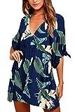 Meenew Women's Half Sleeve Plunge Neck Empire Waist Flared Short Palm Dress XL