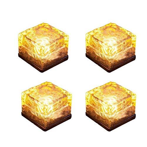 Solar Glass Brick Light - Solar Ice Cube LED Light - Crystal Brick Stone Lamp Garden Courtyard Pathway Patio Pool, Decorative Christmas Festives Ice Rock Cube Lights (4PCS Warm White)