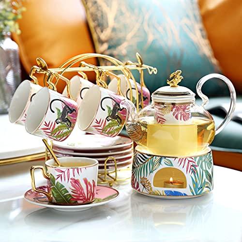 Juego de té de la tarde de animales de la selva, taza de té y platillo y tetera con calentador de té (juego de tetera de flores)