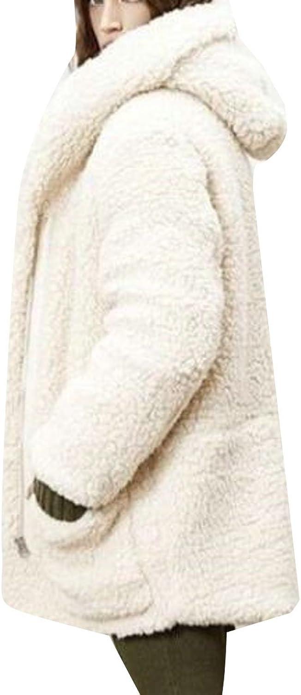 GAGA Women Casual Loose Hooded Long Sleeve Faux Fur Cardigan Coat For Winter