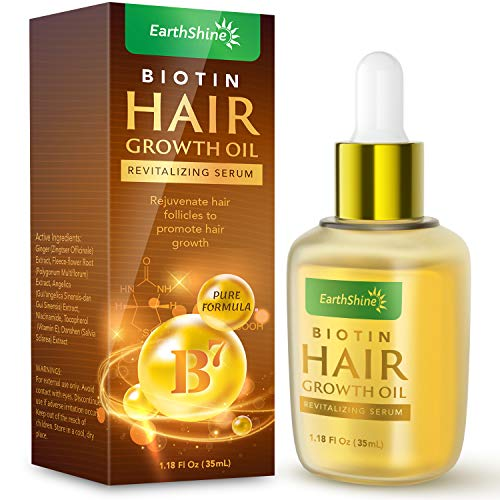 Hair Growth Serum - Biotin Hair Regrowth Oil Prevent Hair Loss and Natural Serum for Thicker, Stronger, Longer Hair Men and Women 1.18 Oz