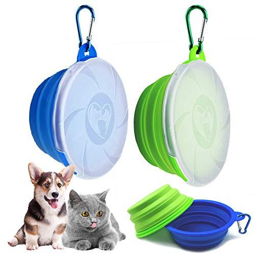 2 cuencos para perros, plegables, a prueba de fugas, con tapa y gancho, cuenco portátil de silicona