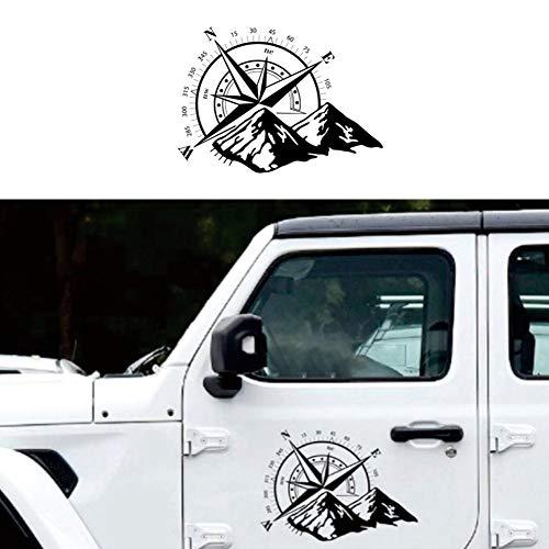 RENNICOCO Schwarz Off Road Aufkleber Aufkleber Berg Kompass Vinyl Auto Aufkleber