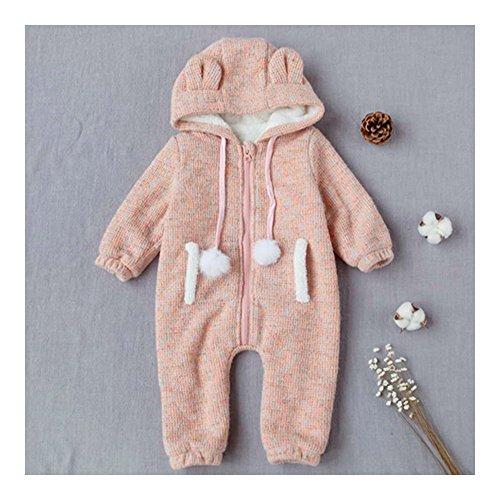 Baby Jongen Meisje Dikke Warme Rompers Eendelig Hoed Oor 0-1-2 Jaar Oud Roze 73cm Meerkleurig