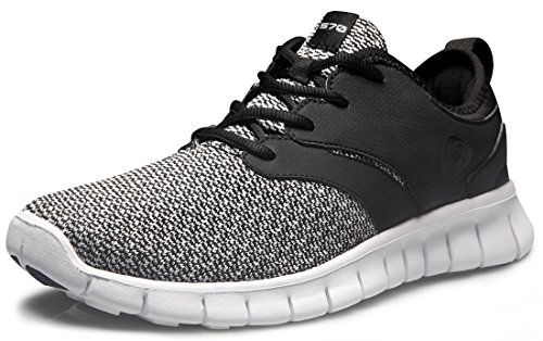 TSLA Men's Sports Running Shoes, Lightweight Breathable Walking Casual Sneakers, Performance Gym Training Athletic Shoes, Flex Groove Jet Black, 9