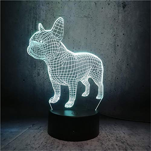 LBJZD Night Light Handsome Boys Pet Illusion Doggy Bulldog Led Night Light Table Side Bedroom Lamp Children Christmas Decorations for Home Without Remote Control