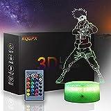 Lámpara de noche LED ilusión 3D Naruto Kakashi A Gaming Accesorios para escritorio Auto Cambio Ilusión Lámpara Decoración de Mesa Luz para Niños Niños Niñas