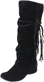 2036b2c2a2f82a Bottes Hautes Femme CIELLTE 2018 Mode Bottes de Neige Hiver Chaussures à  Talon Bottines Plissé à