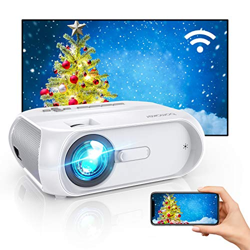 """WiFi Mini Outdoor Projector, Portable Outdoor Movie Projector, 300"""" Display, Full HD 1080p Supported, Wireless Screen Mirroring, Compatible with iPhone/Android/Laptops/DVD Players/Windows"""