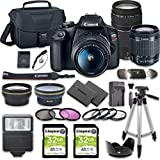 Canon EOS Rebel T7 DSLR Camera Bundle with Canon EF-S 18-55mm f/3.5-5.6 is II Lens + Canon EF 75-300mm f/4-5.6 III Lens + 2pc Kingston 32GB Memory Cards + Accessory Kit