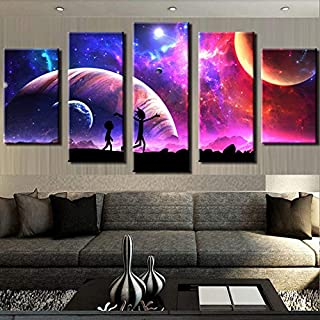 RUIHAN Painting Wall Pictures Home Decor Artwork Modular 5 Panel Rick and Morty Poster Work Hd Printed Modern Canvas Living Room No Frame 10x15 10x20 10x25cm