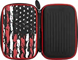 Casemaster EVA Shell Dart Case with Blue Zipper, Holds 6 Darts and Extra Accessories, Tips, Shafts and Flights, Compatible with Steel Tip and Soft Tip Darts, American Flag