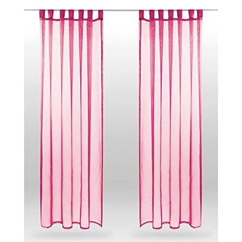 Bestlivings lusgordijn Noella, transparante decoratieve sjaal Voile b 140 x l 245 cm 2-pack, woonaccessoire verkrijgbaar in vele 140 x 175cm roze - fuchsia