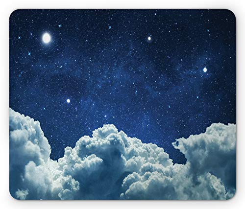 Lunarable Night Sky Mouse Pad, Digitally Generated Sky with Stars and Fluffy Clouds, Rectangle Non-Slip Rubber Mousepad, Standard Size, Sky Blue
