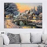 wZUN Paisaje Pintura al óleo Escena de Nieve Impresión Invierno Navidad Carteles y decoración de Sala de Estar Pintura Decoración del hogar 60x90 Sin Marco