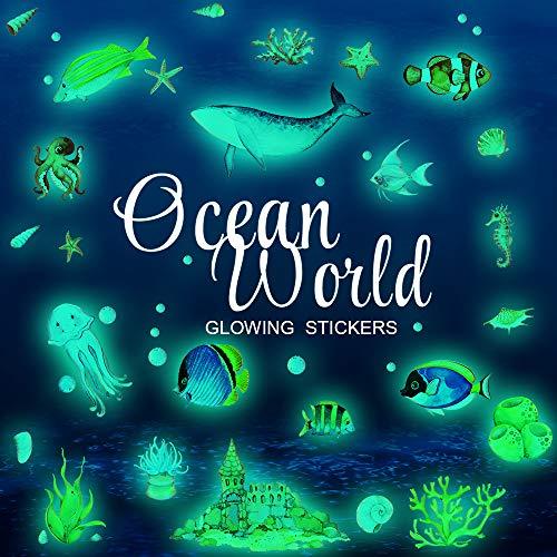 FUNCSDIK 3D Room Wall Ceiling Bedroom Stickers Glow in The Dark Ocean Fish Shark Stickers for Kids Girls Boys Waterproof Happy Underwater Sea World Decals Decorations (Underwater World)