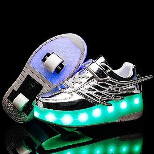 MYHH CD03 LED nachladbare Doppel Rad Flügel Roller Skating-Schuhe, Größe: 30 (schwarz). (Color : Silver)