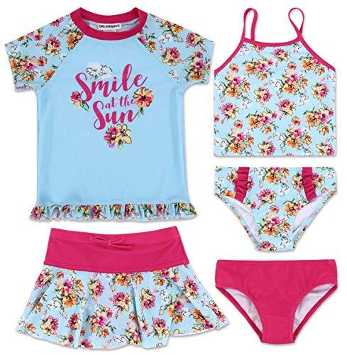 Dreamwave Toddler Girls Swimsuit Set: Rash Guard Tankini Bottoms Skirt Set Blue 2T