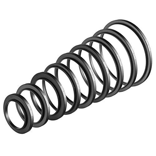 Neewer 9 Stück Step-Up Objektiv Filter Adapter Ringe Set, aus Premium-Eloxiertem Aluminium, beinhaltet: 37-49mm, 49-52mm, 52-55mm, 55-58mm, 58-62mm, 62-67mm, 67-72mm, 72-77mm, 77-82mm