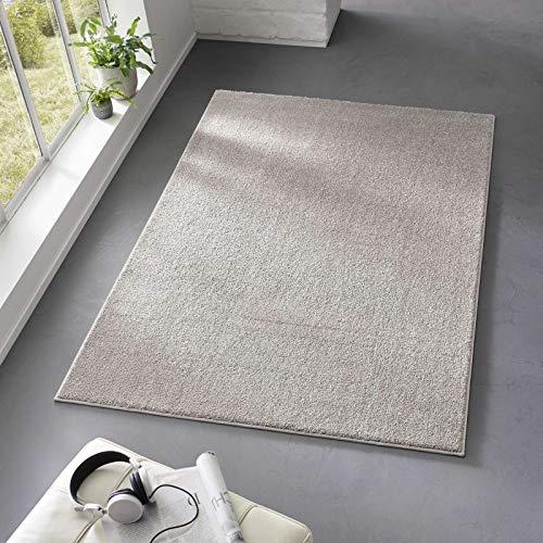 Taracarpet Teppich Kurzflor weicher Designer Uni Bodenbelag Madrid fürs Wohnzimmer, Kinderzimmer, Schlafzimmer und die Küche geeignet Grau Silber 080x150 cm