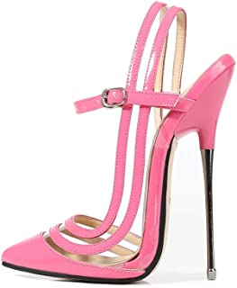 Women's Pointed-Toe High-Heeled Sandals, Large Size 16 Cm Metal Buckle Closed-Toe Sexy Non-Slip High-Heeled Shoes Suitable for Collecting Photos,Pink,35