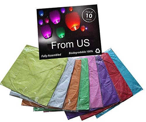 Chinese Sky Lanterns,Environmentally Friendly Paper Lanterns (Pack of 10)
