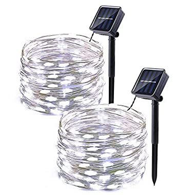 Icicle Solar Fairy Lights, 2 Pack 33ft 100LED Light Sensor Control Flexible Copper Wire Waterproof Decorative Light for Garden, Lawn, Pergola, Backyard, Bush, Gazebo, Porch Decorations (White)
