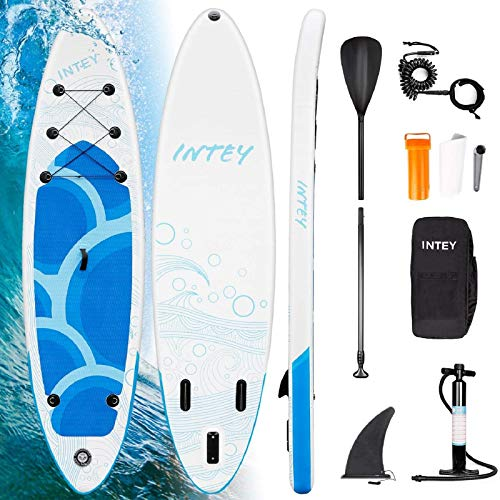 INTEY Tabla Paddle Surf Hinchable 305×76×15cm,  Sup Paddle Remo Ajustable,  Tabla Stand Up Paddle Board,  Bomba de Doble,  Seguridad # Modelo Onaga