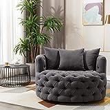 Pannow Modern Akili Swivel Accent Sofa Barrel Chair, Lounge Swivel Barrel Chair 42.9 Inch Linen 360°Swivel for Hotel Living Room/Modern Leisure Chair