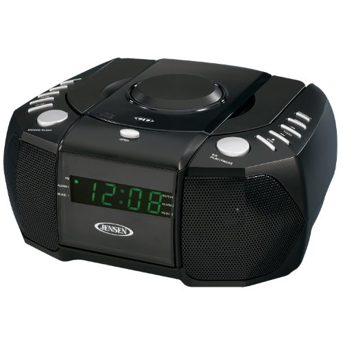 JENSEN JCR-310 AM/FM Stereo Dual Alarm Clock Radio with Top Loading CD Player, Digital Tuner and Aux Input