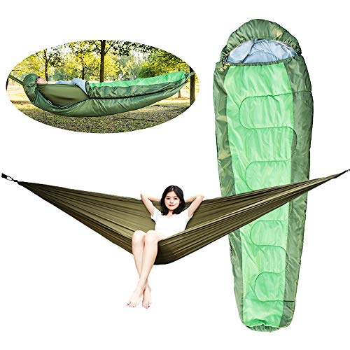 ZHAONAA Peut accueillir Plus de Personnes Outdoor enveloppe de Camping Sac de Couchage à Capuchon Amovible fixé Un hamac Multifonctionnel Sac de Transport Pratique (Color : Army Green)