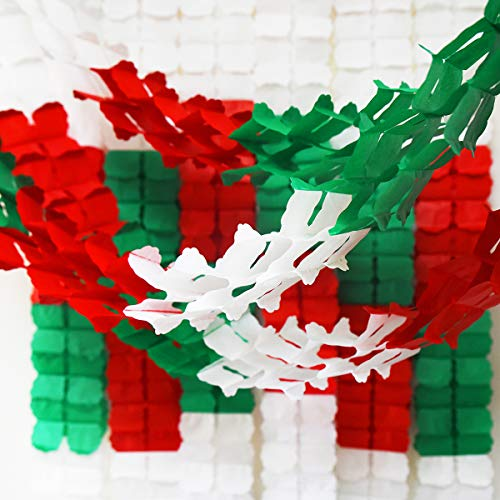 6pcs Christmas Red Green White Party Decorations Hanging Garland Four-Leaf Tissue Paper Flower Garland Reusable Party Streamers for Baby Shower Wedding Nursery Bridal Shower (10 Feet/3M Long Each)