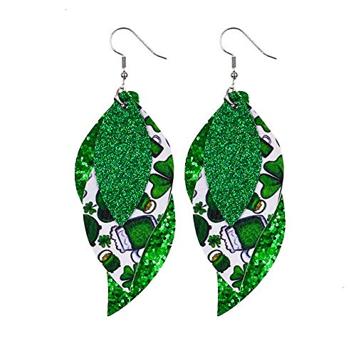 Pendientes Mujer Pendientes De Plumas De Cuero Verde Brillante Pendientes De Impresión Simple De Moda-13