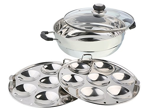 Pristine Stainless Steel Induction Compatible Multi Purpose Kadai with Glass Lid and 2 Idly Plates