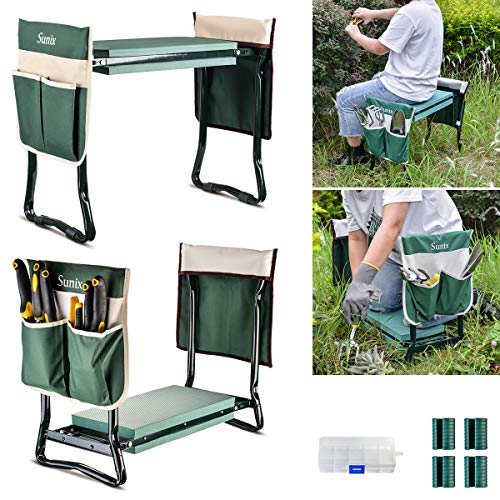 Sunix Folding Garden Kneeler and Seat, with 2 Free Tool Pouch, with Kneeling Pad for Gardening Sturdy Lightweight Garden Kneeler - Ideal Gardening Gift.