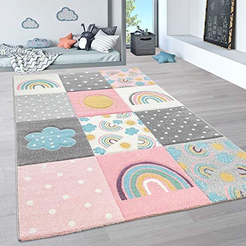 Paco Home Alfombra Infantil, Alfombra Pastel Habitación Infantil con Nubes 3D Y Motivos De Estrellas Arcoíris, tamaño:Ø 120 cm Redon, Color:Multicolor