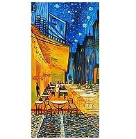 夜のカフェテラスゴッホ壁アートキャンバス絵画ポスター壁画ホームスタディ寝室部屋の装飾-40x80cmフレームなし