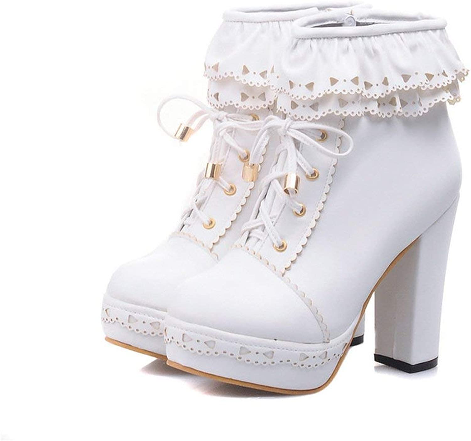 Edv0d2v266 Women's Lace Up Platform High Heel Ankle Boots Sweet Lolita shoes PU Leather Ruffle Booties