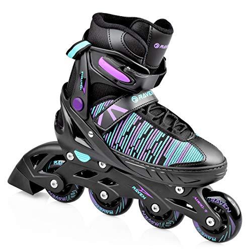 RAVEN Inline Skates Inliner Cande verstellbar (Black/Mint/Violet, 38-42(24,5cm-27,5cm))