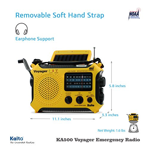Product Image 4: Kaito KA500 5-way Powered Solar Power,Dynamo Crank, Wind Up Emergency AM/FM/SW/NOAA Weather Alert Radio with Flashlight,Reading Lamp and Cellphone Charger, Yellow