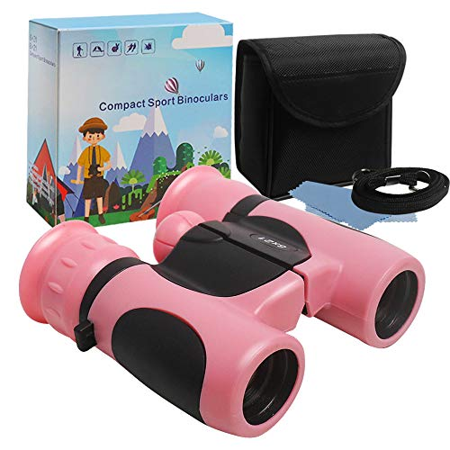 JOCHA Binoculars for Kids 3-12 Years Boys Girls Bird Watching with Lanyard Small Pocket Folding 8x21 High-Resolution Real Optics Outdoor Play Toys for Camping Hiking Nature Explore Learning (Pink)