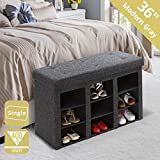 Seville Classics 9-Bin Foldable Tufted Shoe Storage Ottoman Bench Trunk End-of-Bed Stool, Single, Charcoal Gray